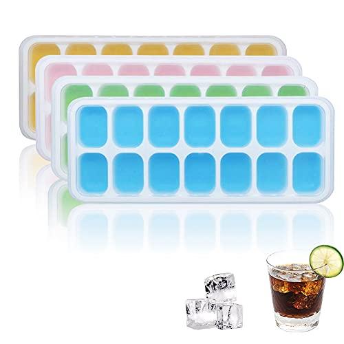 Cubitera de hielo con tapa, 4 bandejas de cubitos de hielo con tapa, 14 compartimentos de silicona para cubitos de hielo fáciles de desmoldar para whisky, cócteles, zumo, chocolate, dulces