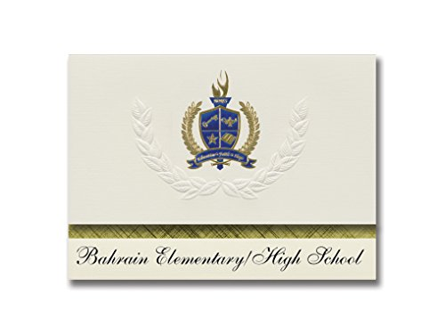 Signature Announcements Bahrain Elementary/High School (Fpo, AE) Graduation Ankündigung, Presidential Style, Basic Paket von 25 mit Gold & Blau Metallic Folien-Siegel