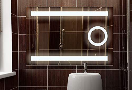 Eterna Badspiegel 100x60 cm mit LED Beleuchtung und integriertem Kosmetikspiegel, Badezimmerspiegel, Lichtspiegel (Wippschalter | Neutralweiß, 3 x Vergrösserung)