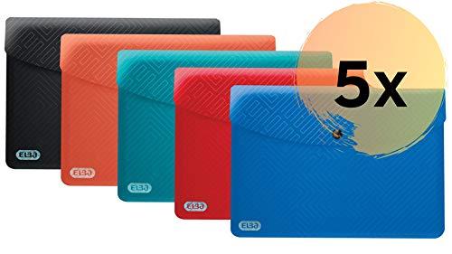 ELBA Urban Brieftaschen A5, aus Kunststoff, blickdicht, sortiert, 5er Pack