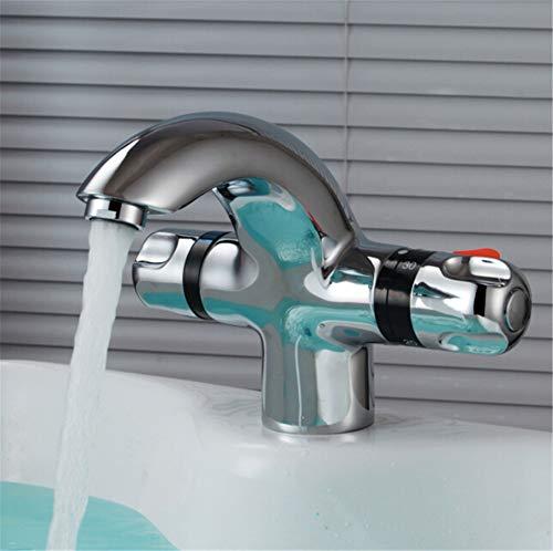 YAWEDA Thermostat-Waschtischmischer Badezimmer Thermostat Bassin-Hahn-Wasser-Mischer-Hahn-Thermostatmischer