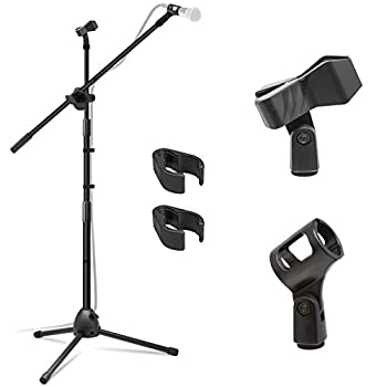 Kasonic Microphone Stand Heavy Duty Adjustable Collapsible Tripod Boom Mic Stands with 2 Mic Clip Holders for Performance Karaoke Singing Speech Wedding Stage and Outdoor Activity - Black