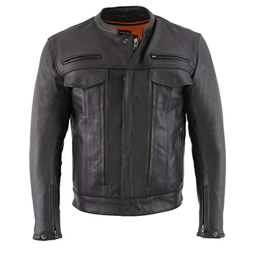 Milwaukee Leather MLM1506 Men's 'Cool-Tec' Black Leather Jacket with Utility and Gun Pockets - Large