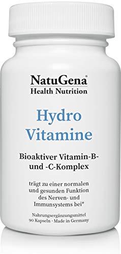 NatuGena HydroVitamine, hochdosiert, Vitamin C und B-Komplex aus 14 B-Vitaminen für höhere Leisungsfähigkeit, stärkt das Immunsystem, 90 Kapseln