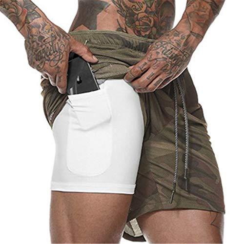 Cabeen 2 en 1 Pantalon Corto de Deporte para Hombre e...