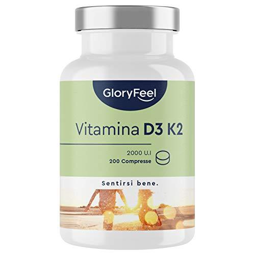 Vitamina D3 + K2 200 Compresse (7 Mesi), 2000 UI Vitamina D, 100 µg Vitamina K, Supporta Ossa, Denti, Muscoli, Articolazioni & Sistema Immunitario, Colecalciferolo e Menachinone MK7 99%, Vit D3