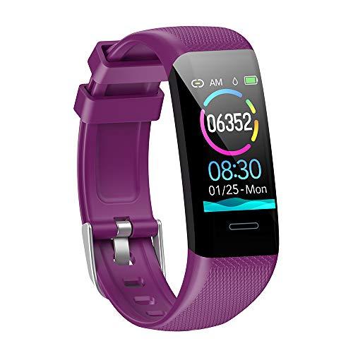 MMTek Fit Pro 2, Smartwatch Reloj Inteligente Mujer Hombre Niños Impermeable IP67 Pulsera Actividad con Pulsómetro Podómetro Monitor de Sueño Presión Arterial Calorías Smart Watch Men Women (Morado)