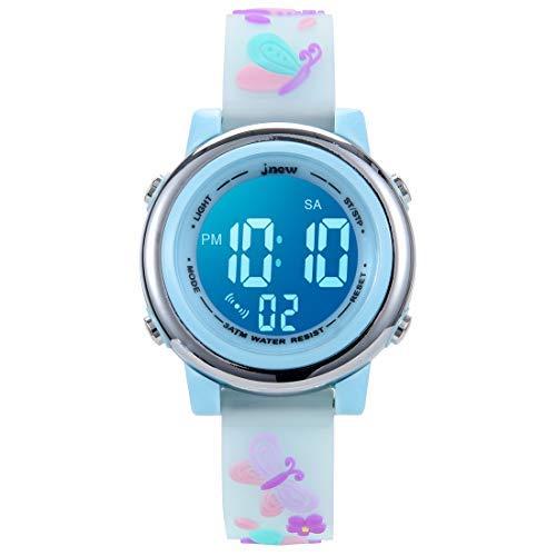 Relojes deportivos digitales para niños para niñas, temporizador led impermeable al aire libre con 7 colores de fondo 3D de dibujos animados..