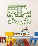 pegatina de pared pegatina de pared 3d Nursery Rhyme Wall Decals Las Ruedas En El Autobús Canción Decoración Para Guardería Infantil, Sala De Juegos, Aula De Preescolar
