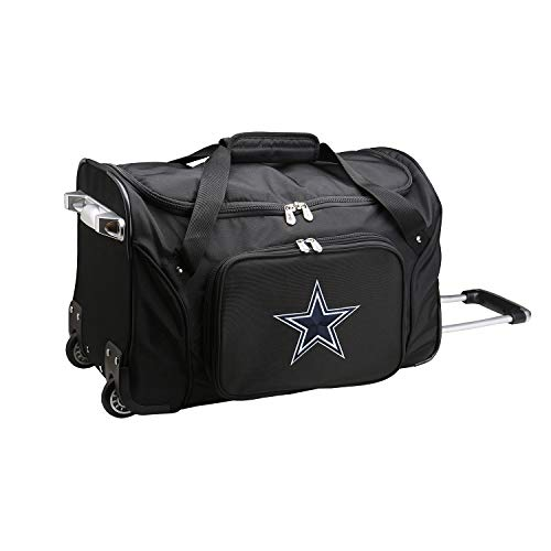 "Denco NFL Dallas Cowboys Wheeled Duffel Bag, 22-inches, Black, 22 x 12 x 5.5"""