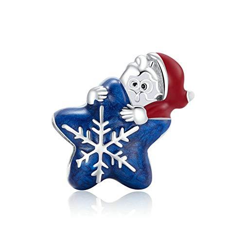 HMMJ S925 Sterling Siling Charms Beads, Santa DIY Colgante de Copo de Nieve Azul Hecho a Mano Compatible con Pandora Troll Chamilia Pulsera Europea Collares