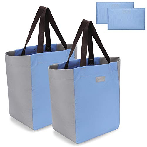Gonex Reusable Grocery Bag Shopping Tote, Foldable Large Heavy Duty Shopping Bags, Durable Travel Tote Beach Bag Bookbag with Handles Machine Washable 2pcs (Light Blue+Light Grey)