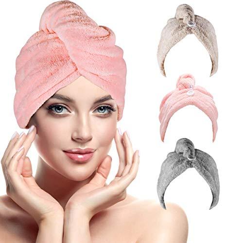 Toallas para Secar el Pelo, Toalla Turbante para el Pelo, Cabello Turbante de Secado rápido Coral Fleece con Botón del Abrigo, para en EUR Ducha, SPA, Maquillaje (3-Pack)