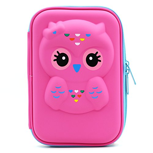 Soocute Owl Face Hardtop Pencil Holder cute EVA Pencil Case con grande capacità per studenti bambini Rose Red