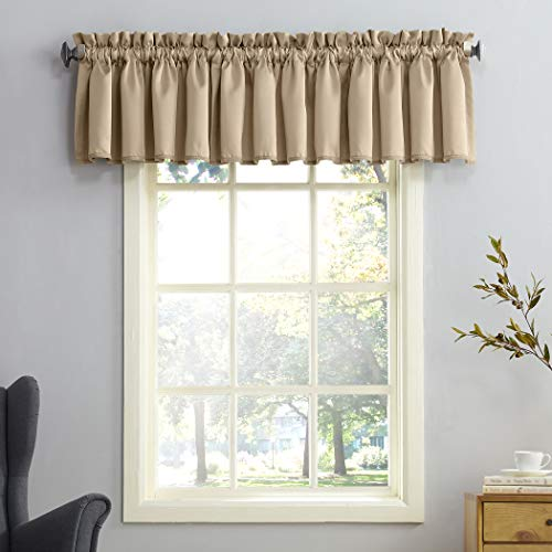 """Sun Zero Barrow Energy Efficient Rod Pocket Curtain Valance, 54"""" x 18"""", Taupe"""