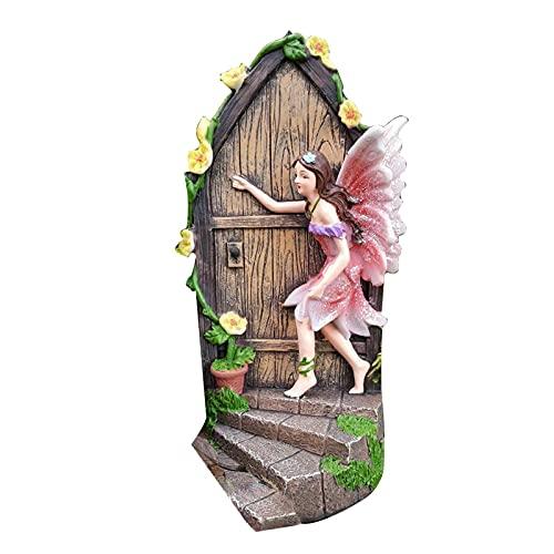 BIUDUI Miniatur-Tür-Statue-Dekor, Funkelnde Feentür-Gartenhaus-Ornament, Gartenfigur-Ornament, Garten-Peeker-Yard-Kunst Für Rasen Indoor Oder Outdoor (20 cm)