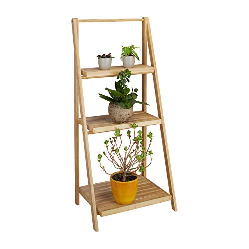 Relaxdays Blumentreppe innen, 3 Stufen, Bambus, klappbar, Leiterregal, Pflanzenregal, H x B x T 99 x 45 x 32 cm, Holz, natur