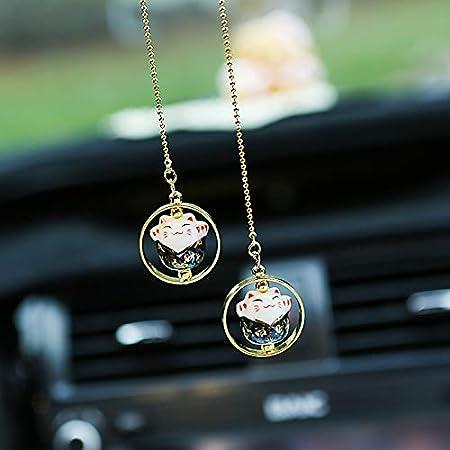 Vintage Brass Lucky Cat Statue Pendant Decor DIY Car Interior Keychain Hanging