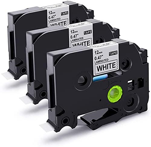 Nastro per Etichette Suminey compatibile in sostituzione di Brother TZe-231 12mm Nero su Bianco Laminato Tape Cassetta per Brother P-Touch PT-1000 1000P 1000BTS Etichettatrice 12mm TZ-231, 3Pz