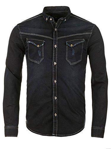 WOTEGA Herren Western Jeanshemd Shirt Freizeithemd Slim Fit Langarm Männer, Blau (Dark Sapphire 194020), M