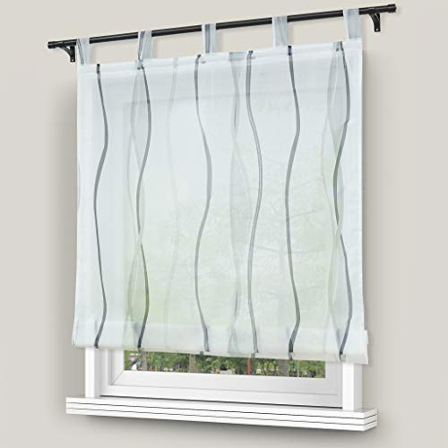 Yujiao Mao 1er Voile Raffrollo mit wellenförmigen Druckdesign Fenster Vorhänge Grau BxH 140x140cm