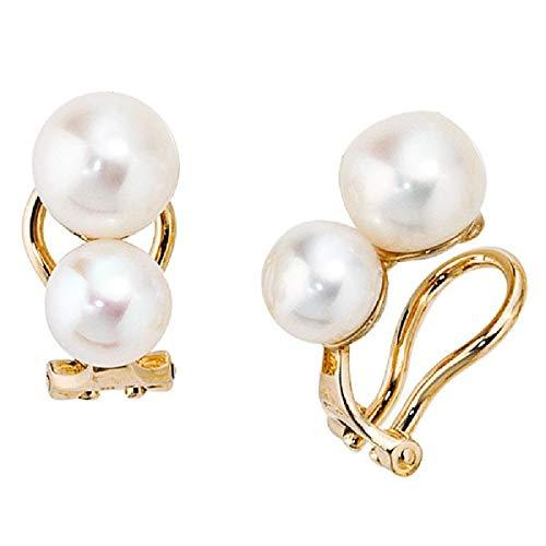 Ohrclips 585 Gold Gelbgold 4 Süßwasser Perlen Ohrringe Clips Perlenclips Schmuck