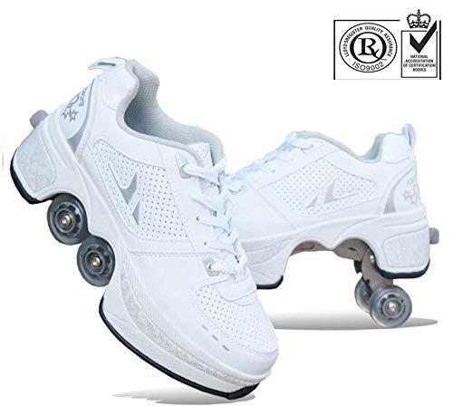 FLY FLU Schuhe Mit Rollen Skateboardschuhe,Inline-Skate,2-in-1-Mehrzweckschuhe,Verstellbare Quad-Rollschuh-Stiefel-Männliche Und Weibliche Paare 35-43EU,White-40