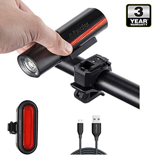 Cycleafer® Fietsverlichting set, USB oplaadbare fietsverlichting, Super KRACHTIGE lumen, Fietslichten set, LED fietsverlichting voor + GRATIS fietsverlichting achter, Premium kwaliteit, ontworpen in UK Module: aubVOLT