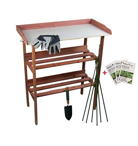 MAXX Trädgårdsförberedelsebord för träplantor med arbetsyta 80 x 40 x 86 cm
