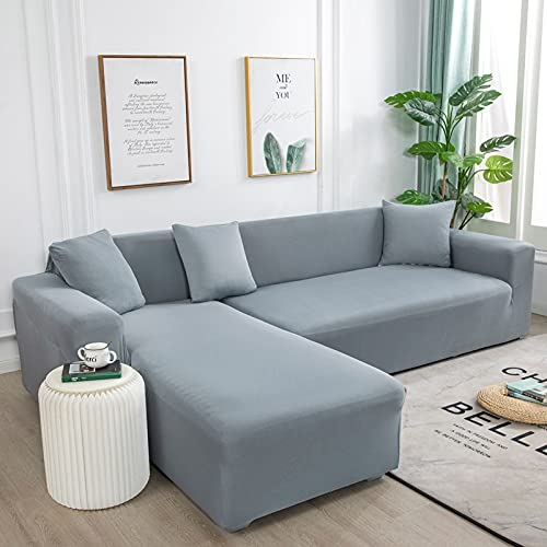 WXQY Fundas de Color Liso Funda de sofá elástica elástica Funda de sofá de protección para Mascotas Funda de sofá con Esquina en Forma de L Funda de sofá con Todo Incluido A7 4 plazas