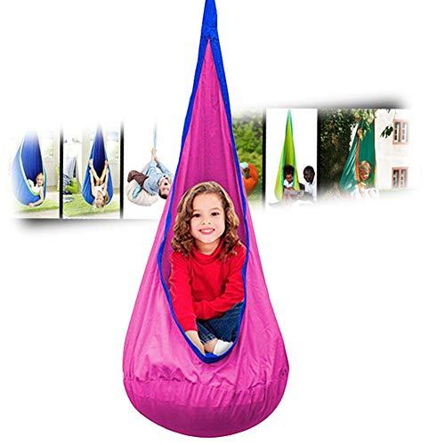 Kinderschaukelstuhl, Kinder-Schaukelstuhl, mit Kissen- und Hängesets, langlebiger Sicherheits-Kinder-Hängematten-Schaukelstuhl für drinnen und draußen (Rosa)