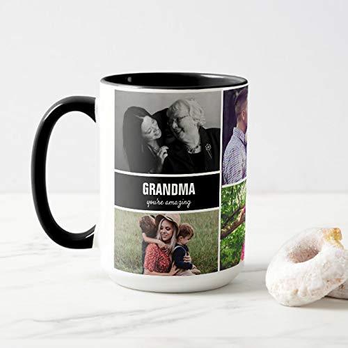 Tazza per la nonna famiglia con foto collage in ceramica personalizzata, tazza da caffè...