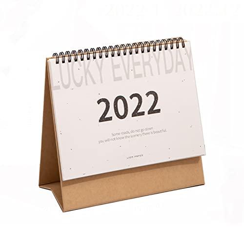 Hsjx 2022 Desk Calendar 19.7 * 4 * 14.8Cm,Monthly Flip Stand Up Planner Notepad Book for Desktop,Sturdy 12 Months Use Jan 2022 to Dec 2022(Color:D)