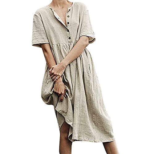TYTUOO Vestidos de verano retro de las señoras O-cuello botón manga corta algodón y lino fácil vestido de color puro vestidos para las mujeres elegantes