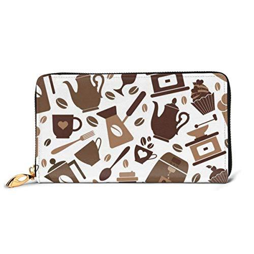 Lawenp Brieftasche Gedruckte Brieftasche Leder Reißverschluss Brieftasche Kaffee Icons Muster Reise Brieftasche Telefon Kupplung Geldbörse Kartenhalter Organizer Für Frauen Mädchen