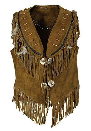 EURO STARS Country Kancho Wild Lederweste mit Perlen Braun, Leather Vest brown (XS, Braun)