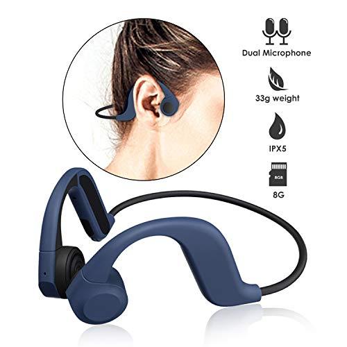Blooth Bone - Auriculares de conducción ósea, 8G, reproductor MP3, auriculares de conducción ósea, impermeables, IP55 azul