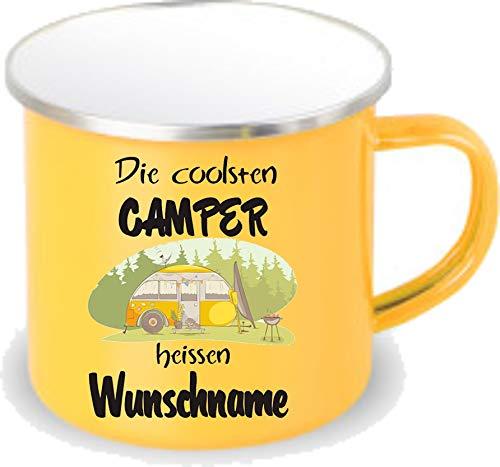 Crealuxe gelbe Emaille Tasse mit Rand Die coolsten Camper heißen Wunschname - Kaffeetasse mit Motiv, Campingtasse Bedruckte Email-Tasse mit Sprüchen oder Bildern