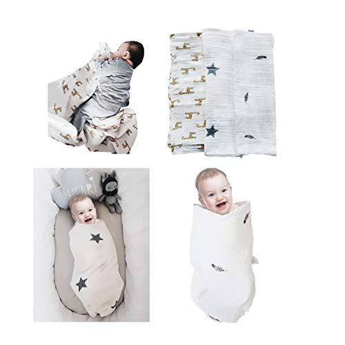 Pucktuch für Neugeborene - Fastique Kids® Baby Musselin aus 100% Baumwolle - Wickeltuch 120 x 120 cm - Spucktücher weich & kuschelig - 3er Pack