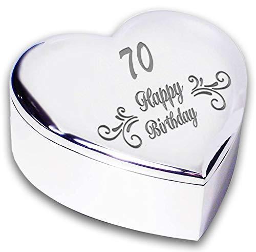Chris Bag Of Goodies 70th 70 Seventeeth Happy Birthday Swirl Silver Finish Heart Shaped Trinket Box Keepsake Novelty Keepsake Gifts Idea For Her Women