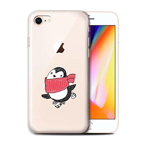 Telefoonhoesje voor Apple iPhone SE 2020 Leuke Doodle Penguin Rode Sjaal Ontwerp Transparant Heldere Ultra Zachte Flexi Siliconen Gel/TPU Bumper Cover