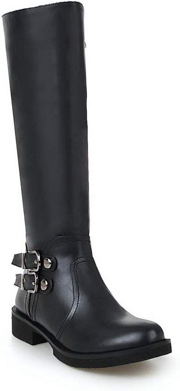 AN Womens Metal Buckles Square Heels Urethane Boots DKU02538
