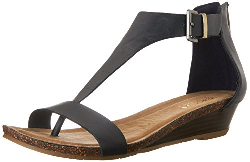 Kenneth Cole Reaction Women's Great Great Gal T-Strap Wedge, Navy, 9 M US