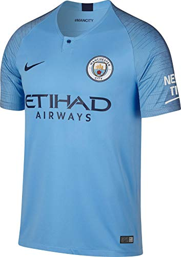 Nike Herren T-Shirt Manchester City FC Stadium Home, Field Blue/Midnight Navy, L, 894431-489