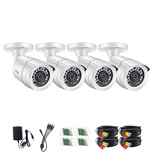 ZOSI 4 Pack FHD 1080p 2MP Security Bullet Cameras (Hybrid 4-in-1 HD-CVI/TVI/AHD/960H Analog CVBS),1920TVL Day Night Weatherproof  CCTV Camera Indoor/Outdoor, Night Vision Up to 80FT