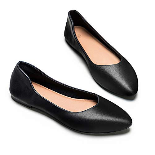 Womens Leather Flat Driving Loafers Node Flat Shoes for Women Classic Pointed Toe Comfortable Soft Ballet Shoes(Black.US9)
