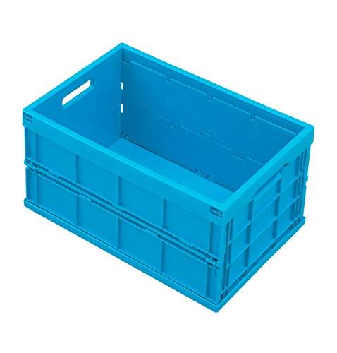 Faltbox ohne Deckel im Euro-Maß 532-40, mit Durchfassgriff, platzsparend, robust, geschlossen, blau, 40 l
