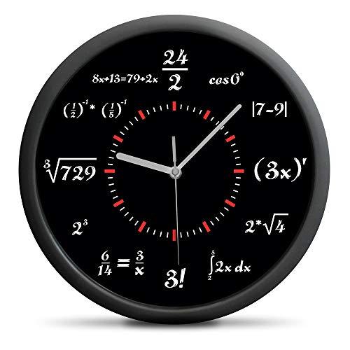 Froster Reloj de Matemáticas, sin cosquillas, reloj de pared silencioso, decoración del hogar, regalo de matemáticas para hombres y mujeres