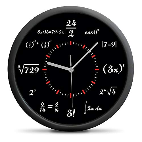 Froster Mathematik Wanduhr mit Matheformeln, still Mechanismus, kreative Mathe Uhr, Lustig Studenten Geschenk