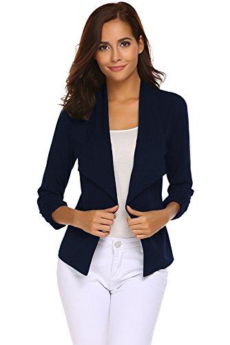 ELESOL Navy Blue Blazer for Women Casual Loose Suit Jackets Professional Boyfriend Blazer with Pockets Navy Blue L